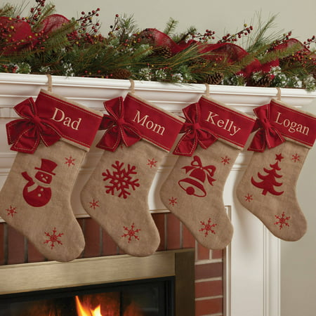 Personalized Burlap Christmas Stocking Available In Different Styles
