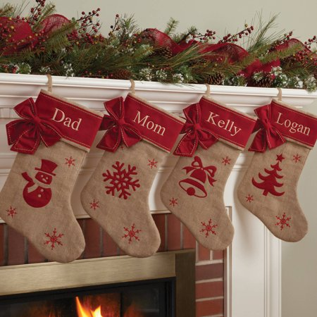 Burlap Christmas Stockings.Personalized Burlap Christmas Stocking Available In Different Styles