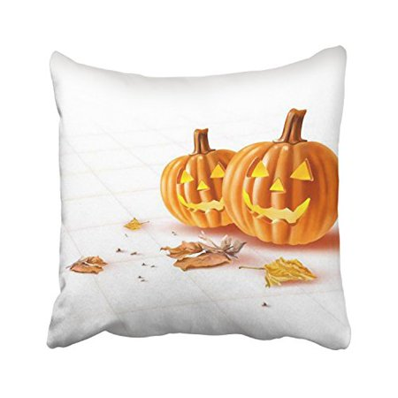 WinHome Happy Halloween Funny Pumpkin Lights And Leaves Simple White Decorative Pillowcases With Hidden Zipper Decor Cushion Covers Two Sides 18x18 inches (Pumpkin And Halloween)