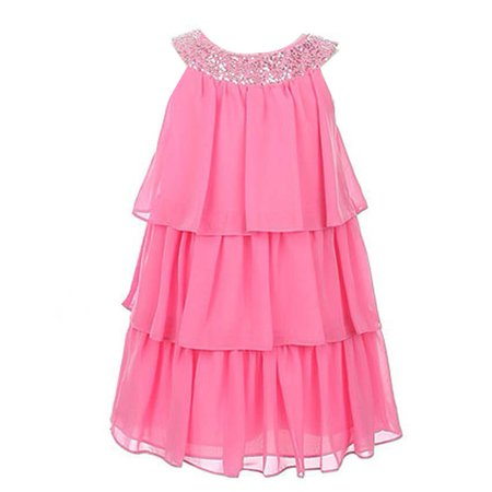 Sweet Kids Girls Pink Sequined Neck Tiered Junior Bridesmaid Dress 7 16