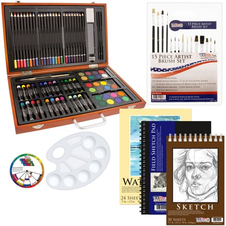 US Art Supply 82 Piece Deluxe Art Drawing Creativity Set in Wooden Case with BONUS 19 additional pieces - Deluxe Art Set - Online Art Supplies