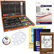 US Art Supply 82 Piece Deluxe Art Drawing Creativity Set in Wooden Case with BONUS 19 additional pieces - Deluxe Art Set