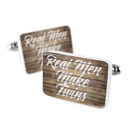 Cufflinks Painted Wood Real Men Make Twins Porcelain Ceramic NEONBLOND