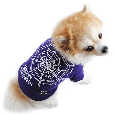Ropalia Pet Dog Clothes Halloween Spider Print Doggy Apparel Shirt for $<!---->