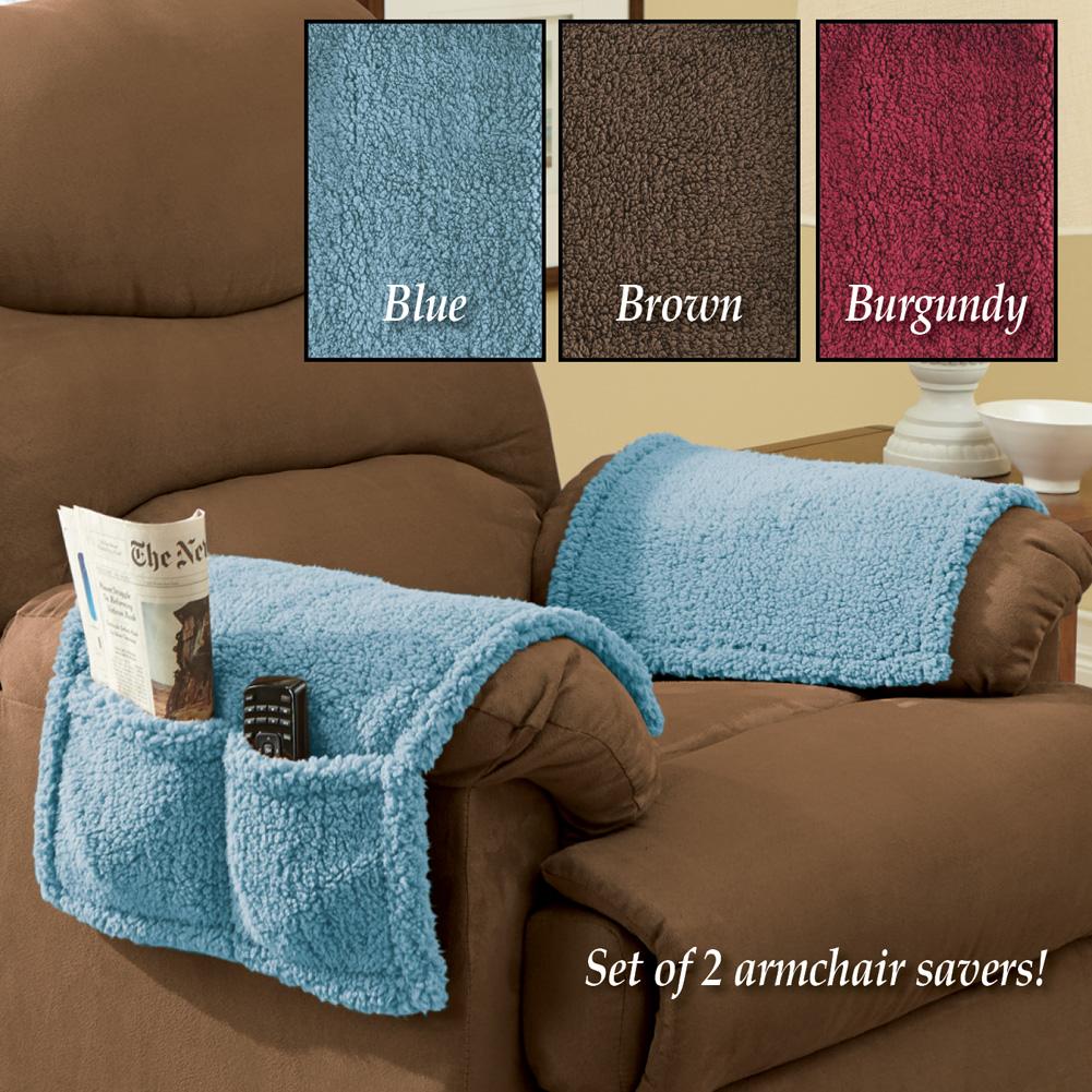 Armchair Covers With Pockets - Set Of 2 FREE Eyeglass Pouch (Blue)