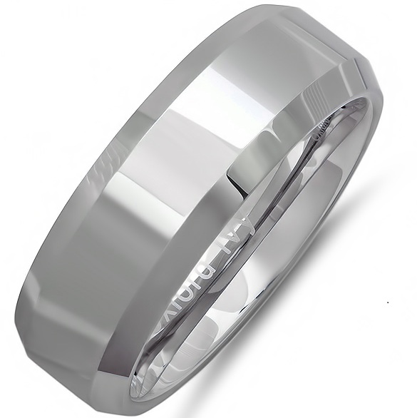 8mm Beveled Edge Comfort Fit Tungsten Carbide Wedding Band ( Available Ring Sizes 7-12 1/2)
