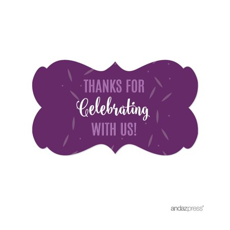 Lavender, Plum, Royal Purple Sweet 15 Quinceanera Party, Fancy Frame Labels Stickers, Thank You!, - Sweet 15 Themes