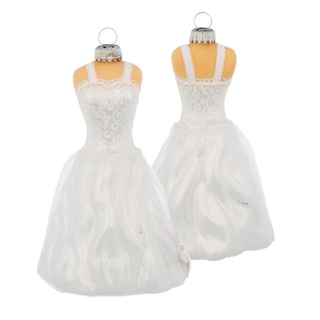 Brides White Wedding Dress Her Special Day Glass Holiday