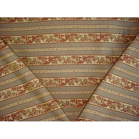168RT21 - Sienna / Gold / Sage Floral Leaf Jacquard Brocade Designer Upholstery Drapery Fabric - By the Yard