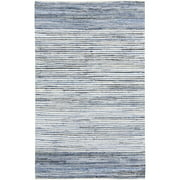 5' x 8' Simply Striped Blue, White and Gray Reversible Hand Loomed Recycled Denim Throw Rug