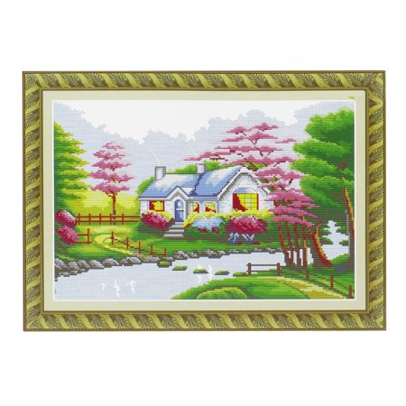 Unique Bargains Ladies Handwork Cross Stitch River Tree House Pattern Design Counted Kit