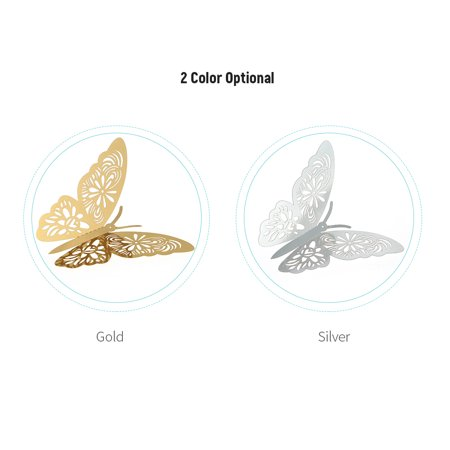 12pcs/set Vivid 3D Butterfly Wall Stickers Removable Mural Stickers DIY Art Wall Decals Decor with Glue for Bedroom Wedding Party--Gold - image 6 de 7