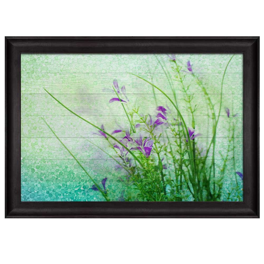 wall26 - Small Purple Flowers with Blue and Green Circles Along with Branches with Leaves Over Wooden Panels - Nature - Framed Art Prints, Home Decor - 16x24 inches