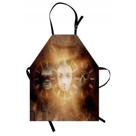 Psychedelic Apron Gothic Spooky Birth Life Death Mask and Skull Baby Face Sacred Artwork Design, Unisex Kitchen Bib Apron with Adjustable Neck for Cooking Baking Gardening, Tan Golden, by Ambesonne