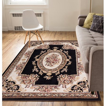 Woven Center (Well Woven Miami Medallion Centre Traditional Black Area Rug )