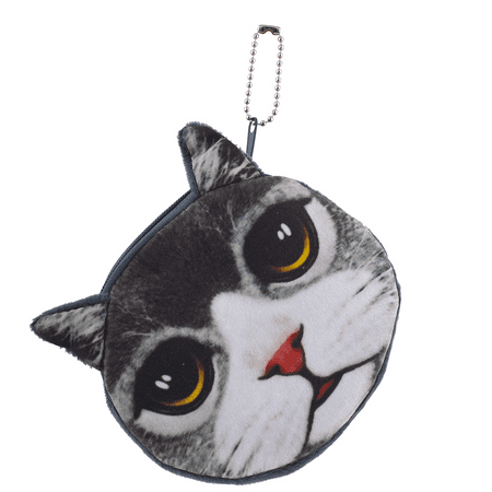 Kitten Cat Purse - Lux Accessories Cat Face Kitten Cat Pet Animal Novelty Wallet Change Coin Purse