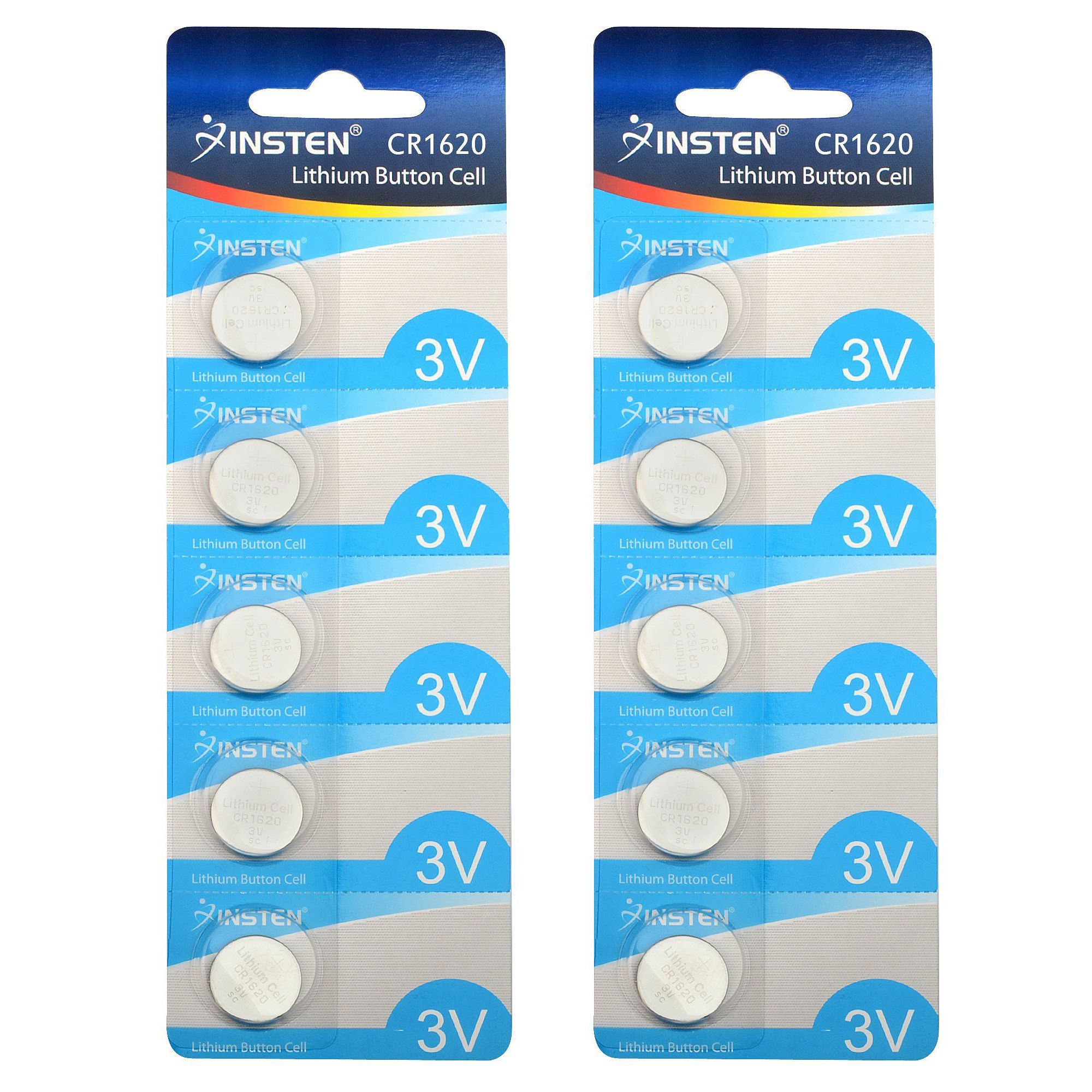 Insten CR1620 3V Lithium Batteries Coin Button Cell Watch Battery (Pack of 10)