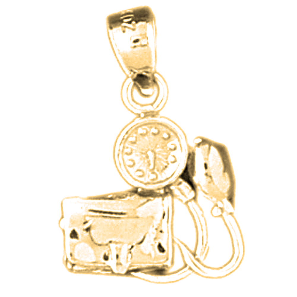 Yellow Gold-plated 925 Sterling Silver 3-D Blood Pressure Monitor Pendant - 21 mm (Approx. 2.38 grams)