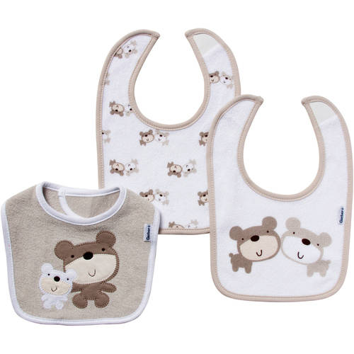 Gerber Newborn Baby Boy, Girl or Neutral Terry Bibs, 3-Pack