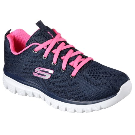 Women's Skechers Graceful Get Connected Navy Pink 12615/NVPK with Memory Foam (Skechers Memory Foam Shoes Girls)