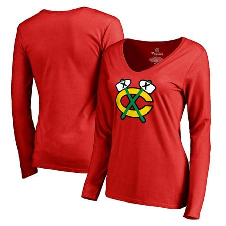 Chicago Blackhawks Women's Alternate Logo Long Sleeve T-Shirt - Red (Chicago Blackhawks Party Supplies)