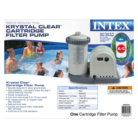 Intex 1500 Gph Easy Set Pool Filter Cartridge Pump With