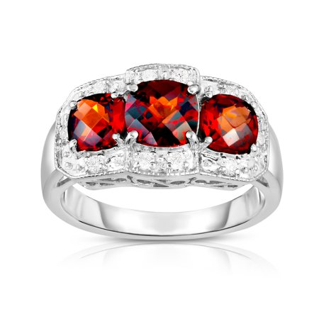 - 14k White Gold Cushion Garnet and Diamond (0.15 Ct, G-H, SI2) Cocktail Ring