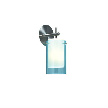 Echo Aquamarine One-Light Wall Sconce with Round Satin Nickel Base