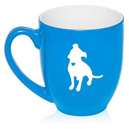 16 oz Large Bistro Mug Ceramic Coffee Tea Glass Cup Cute Pitbull With Heart (Light - Blue Glass Cups
