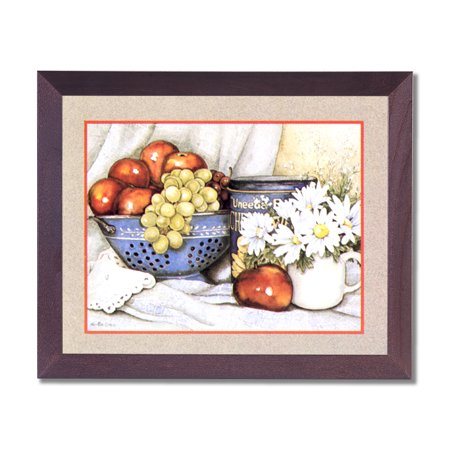 Apples Grapes Flowers Kitchen Contemporary Wall Picture Cherry Framed Art Print (Apples Framed Print)