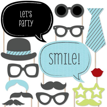 Dashing Little Man Mustache -Photo Booth Props Kit - 20 Count