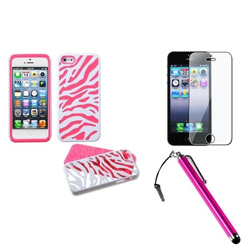 Insten Ivory White Zebra Skin/Electric Pink Fusion Case For iPhone 5S 5   Stylus   LCD Guard