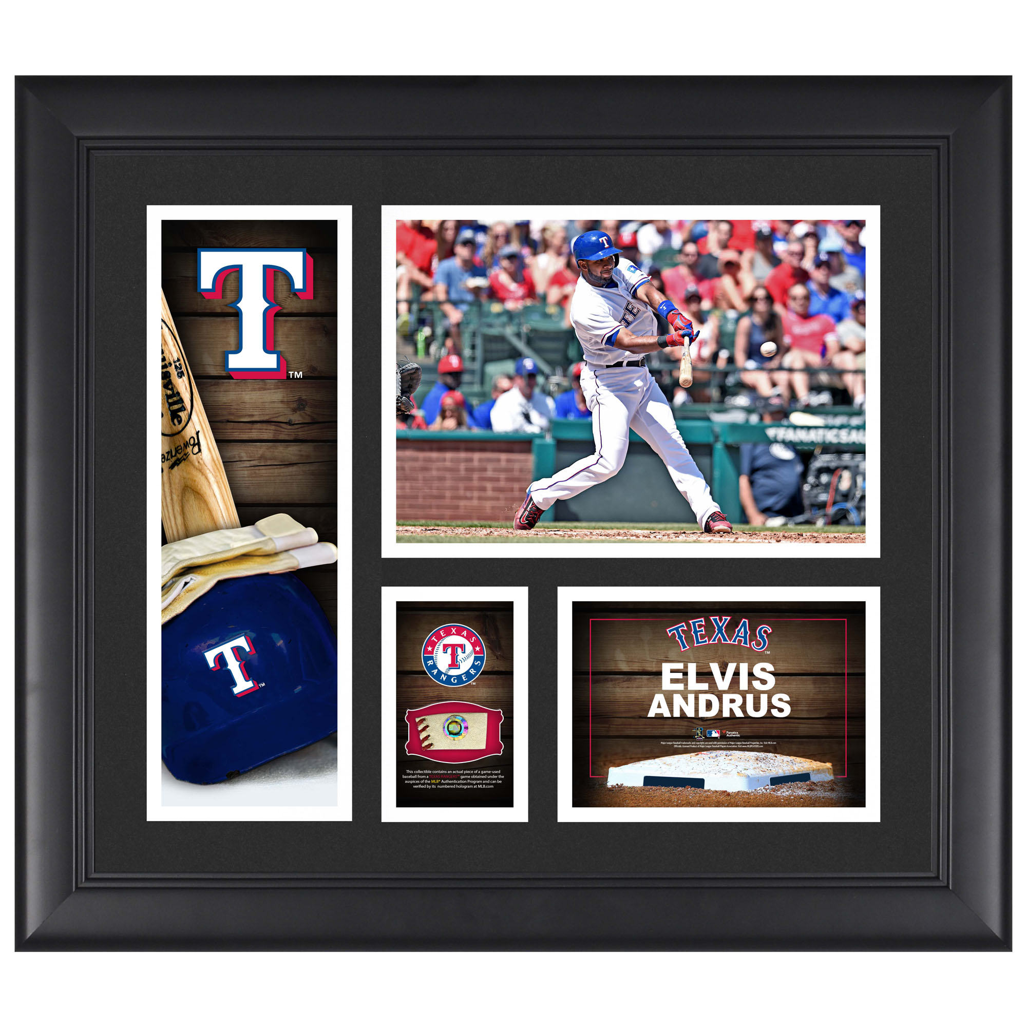"Elvis Andrus Texas Rangers Framed 15"" x 17"" Player Collage with a Piece of Game-Used Ball"