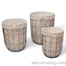 Homebeez Decorative Multi-Purpose Laundry Tall Circular Baskets With Newspaper-Print Lining Home Decor Set Of 3
