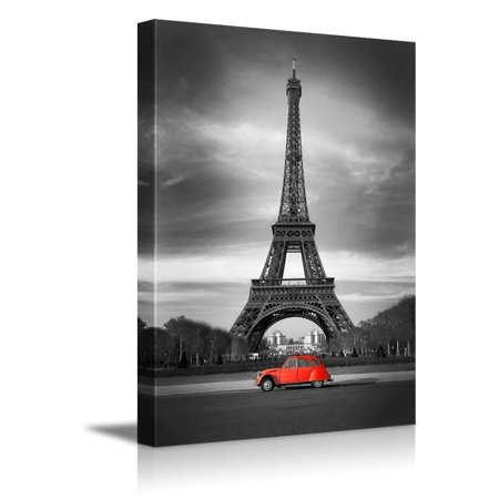 Car Canvas Art (Eiffel Tower in Black and White and Old Red Car Retro Vintage Style ( - Canvas Art Wall Decor - 32