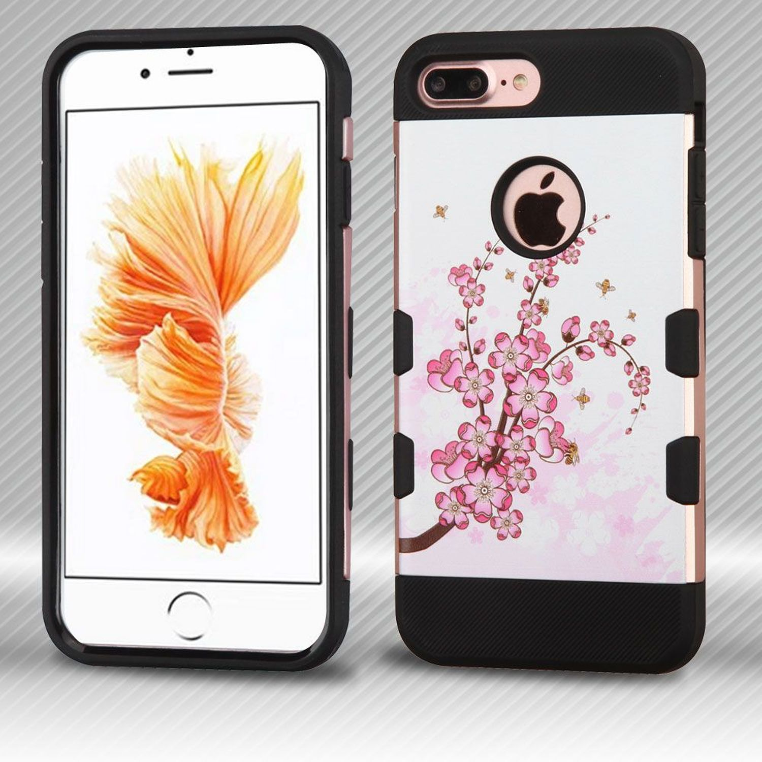 Insten Spring Flowers Hard Plastic/Soft TPU Rubber Case Cover for Apple iPhone 7 Plus, Pink/Black