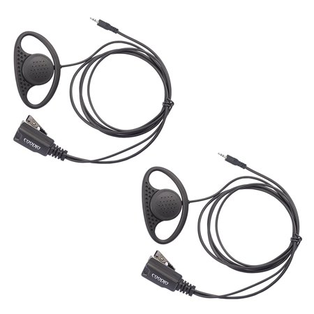 Lot 2 x Coodio D_Ring Earpiece Police Security Headset inline PTT Mic Microphone For 1 Pin Cobra MicroTalk 2 Way Radio