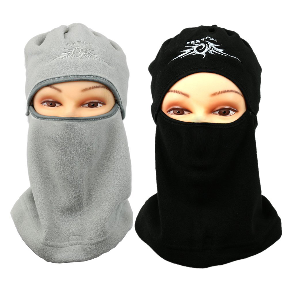 The Elixir Feston Balaclava Ski Face Mask - Premium Windproof Face Mask Motorcycle Neck Warmer Tactical Balaclava Outdoor Hood - Protects from Wind, Sun, Dust, Pack of 2 (Gray, Black)