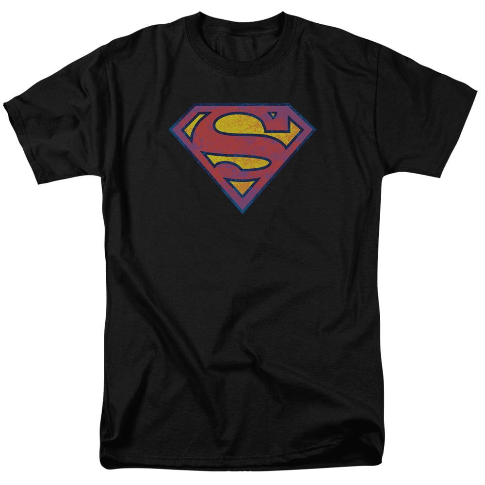 SUPERMAN/SM NEON DISTRESS LOGO-S/S ADULT 18/1 - BLACK - 5X