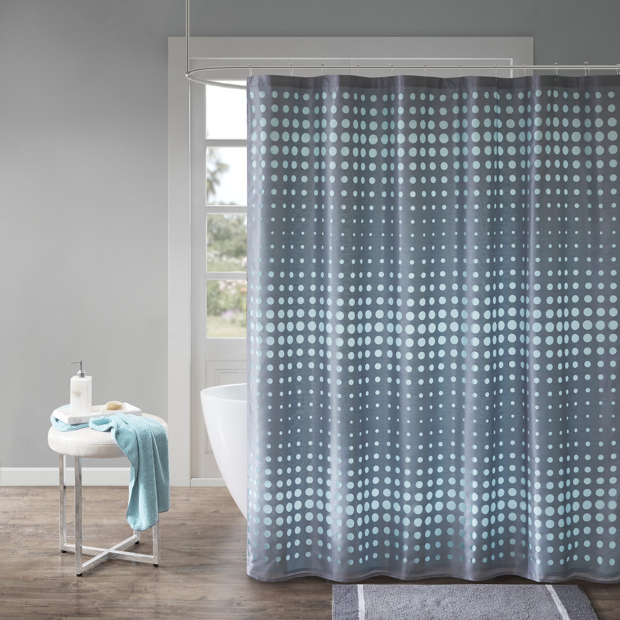 Home Essence Ember Faux Silk Laser Cut Circle Contrast Shower Curtain