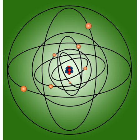 Atomic Structure Model Rolled Canvas Art - Science Source (18 x 24) 5 Atomic Models