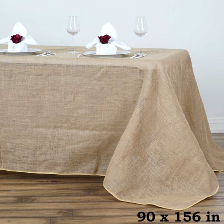 Efavormart Fine Rustic Burlap Tablecloth Rectangle Natural Tone for Kitchen Dining Catering Wedding Birthday Party Decorations - Burlap Table Toppers