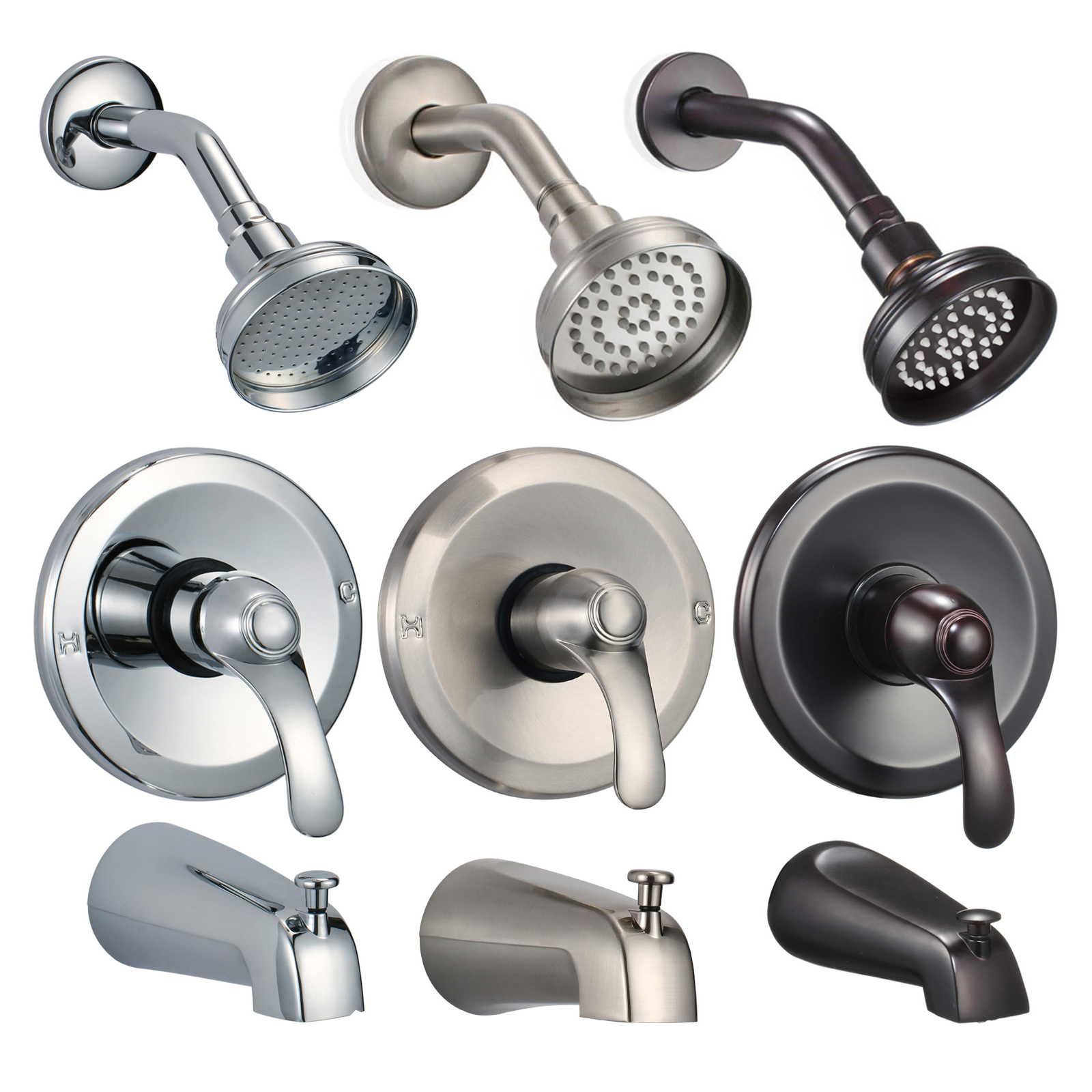 FREUER Ristorare Collection: Showerhead, Valve & Tub Spout - Multiple Finishes Available