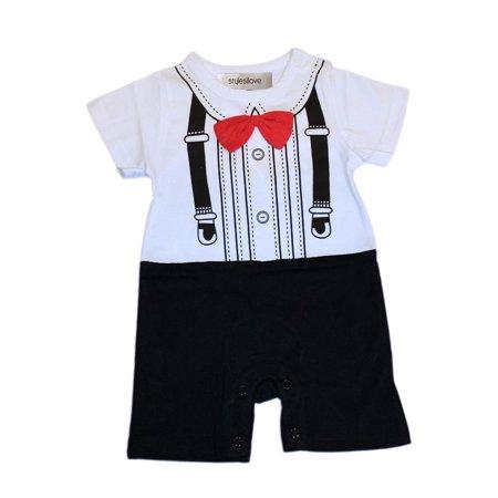 Baby Tuxedo Romper (StylesILove Baby Boy 3D Bowtie Tuxedo Print Romper (18-24)