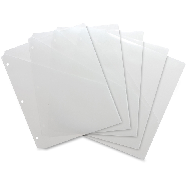 Business Source Binder Pockets, Poly, H/20 Shts, 5 per Pack, Clear (Set of 3)