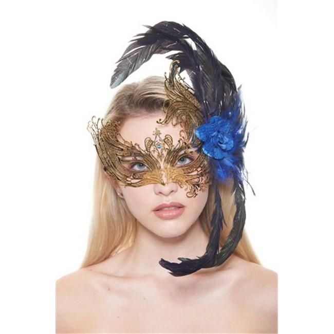 Majestic Gold Swan Laser Cut Masquerade Mask with Feathers & Blue Flower Arrangement - One Size