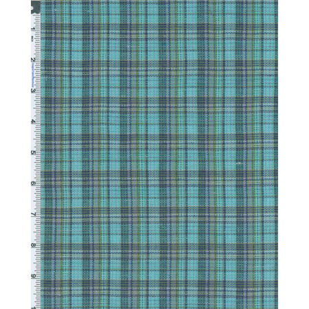 Cotton Shirting Fabric - Green Multi Textured Dobby Plaid Shirting, Fabric By the Yard