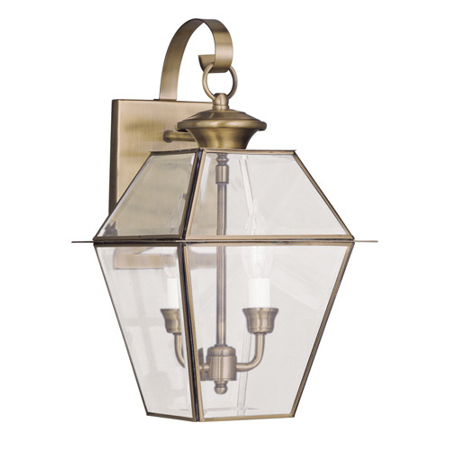 Wall Sconces 2 Light With Clear Beveled Glass Antique Brass size 17 in 120 Watts - World of Crystal