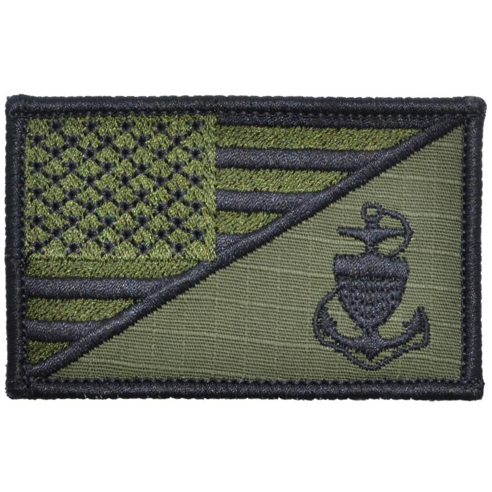 2.25x3.5 Patch US Coast Guard CPO Anchor USA Flag