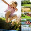 JINS&VICO  10FT Trampoline for Kids/Adult with 6FT Enclosure Net, 661LBS Capacity 3-4 Kids, High Waterproof Mat and Inclined Ladder, Outdooe/Indoor Park Kindergarten